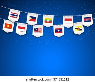 AEC, Asean Economic Community flags on blue background.