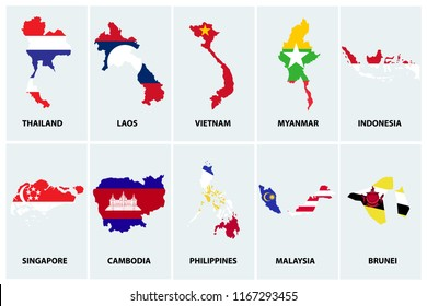 AEC, Asean Economic Community map with flag icons set, vector illustration.
