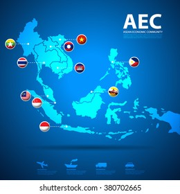 AEC, Asean Economic Community map with flag icons set, vector illustration, EPS10