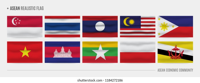AEC (Asean Economic Community) realistic flags, Set of Southeast Asia waving flags for business template.