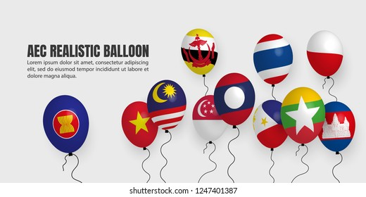 AEC (ASEAN Economic Community) Realistic Balloon, South East Asia Colorful background, ASEAN celebration posters, flyers, banners, presentation.
