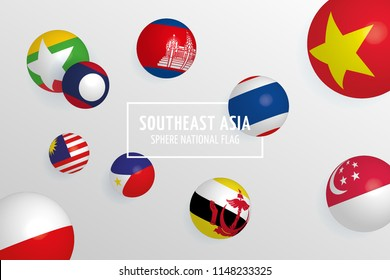 AEC (ASEAN Economic Community) sphere flags colorful background, Set of gradient 3D flags, South East Asia isometric vector illustration.