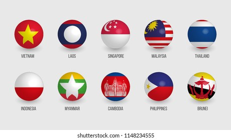 AEC (ASEAN Economic Community) sphere flags, Set of gradient 3D flags, South East Asia isometric vector illustration.