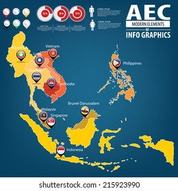 AEC Asean Economic Community world map.