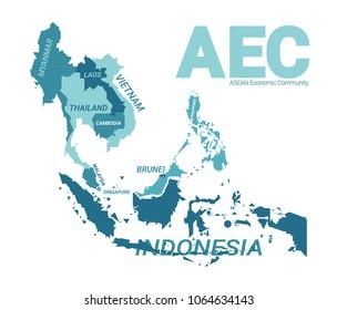 AEC Asean Economics Community. Blue version vector