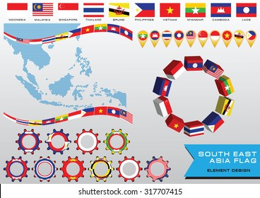 AEC or ASEAN or south east asian design element flag illustration. easy to modify