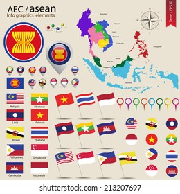 AEC info graphic elements, ASEAN Economic Community, vector illustration