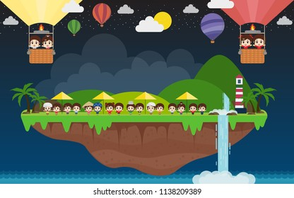 AEC kids and landscape illustration with tropical island, sun, palm, coconut, hammock, sailing boat, air balloon. Summer vacation, perfect holidays concept.
