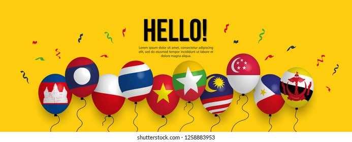 AEC Realistic Balloon, South East Asia Colorful background, ASEAN celebration posters, flyers, banners, presentation.