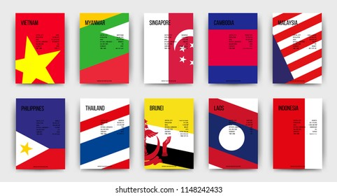 AEC(ASEAN Economic Community) cover, South East Asia Colorful background, set of modern flags posters, flyers, brochures, banners, presentation. SEA vector illustration.