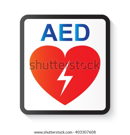Aed Automated External Defibrillator Heart Thunderbolt Stock Vector