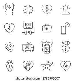 AED, CPR, first aid in cardiac arrest outline icon set. Signs in line style such as defibrillator, emergency call, first aid kit, ambulance. Concept of health care.