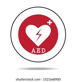 AED Emergency defibrillator AED icon icons Medical logo cpr Vector eps symbol location automated external Medical signs Red automated external defibrillator
