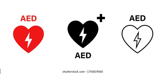 AED vector icon. Emergency defibrillator sign or icon. AED AID CPR. Vector red isolated icon CPR. EPS 10