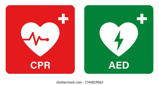 AED vector icon. Emergency defibrillator sign or icon. AED AID CPR. Vector green red isolated icon CPR. EPS 10