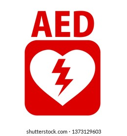 AED,automated external defibrillator / aed sign with heart and electricity symbol flat vector icon - Vector illustration