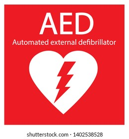 AED,automated external defibrillator / aed sign with heart and electricity symbol flat vector icon
