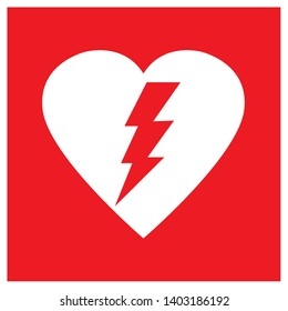 AED,automated external defibrillator / aed sign with heart and electricity symbol flat vector icon - Vector