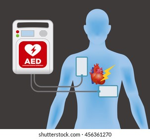 AED(Automated External Defibrillator) and human body, main machine and electrode pads