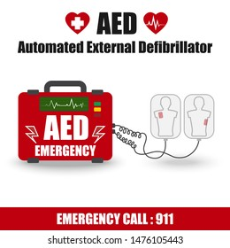 AED(Automated External Defibrillator) Label Sign for Emergency First Aid