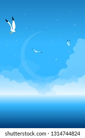 Aegean Concept Poster. Blue Sky, Seagulls, Clouds.
