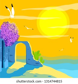 Aegean Concept Poster. Historical Ruins, bougainvilleas, Seagulls, Clouds.