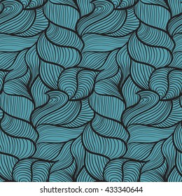 Aegean simple wavy seamless pattern, with black lines and curves