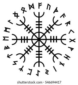 Aegishjalmur, Helm of awe (helm of terror), Icelandic magical staves with scandinavian runes, isolated on white, vector illustration