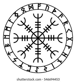 Aegishjalmur, Helm of awe (helm of terror), Icelandic magical staves with scandinavian runes, isolated on white, vector illustration