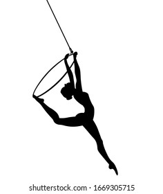 Aerial dancer silhouette vector illustration. Woman or girl performing on hoop.