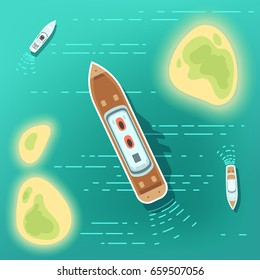 Aerial eye view sea boats and ship. Part of ocean with tropocal islands and cruise ships. Top view summer cruise ship travel in ocean illustration