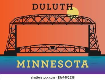 Aerial Ferry Bridge on Duluth, Minnesota, United States