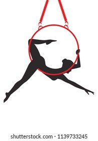 Aerial gymnastics - woman on a hoop - isolated on white background - art vector. Sports logo