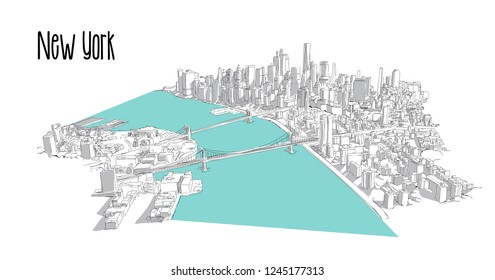 Aerial hand drawn NEW YORK city view vector sketch illustration