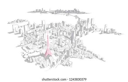 Aerial hand drawn tokyo city view vector sketch illustration