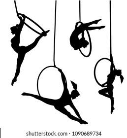 Aerial hoop vector silhouette artist