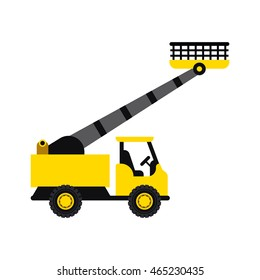 Aerial lift platform icon in flat style