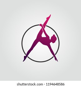 Aerial logo icon with violet colors. Template girl with hoop make font A.