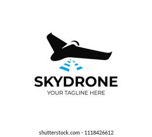 Aerial mapping drone logo template. Drone survey vector design. Unmanned uav service logotype
