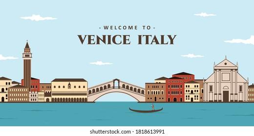 Aerial panoramic city landscape view of Italy. The world famous landmark is St. Mark Square (Piazza San Marco), San Giorgio Maggiore, Rialto Bridge, Venice Traditional's House. Favorite vacation spot