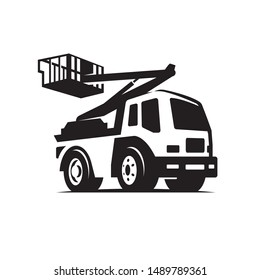 aerial platform logo building machine vector