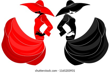 Aerial silhouette of a beautiful girl in a dress and hat in the wind in a fashion style, black and red, on an isolated background.