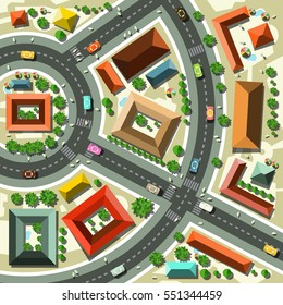 Aerial Top View Flat Design Vector Abstract City Map with Streets, Houses, Cars and People