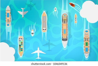 Aerial top view of the transportation in the ocean sea with many kind of boat ship-passenger cruise ship,cargo cruise ship,fuel ship,small speedboat.Also the airplane in the sky with some cloud