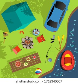 Aerial view of a camping sight near the water, including a tent, an inflatable boat, fire pit, picnic table, sport and recreational items and a parked car, EPS 8 vector illustration
