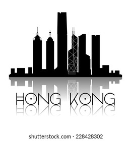 an aerial view of the city of hong kong and text on a white background