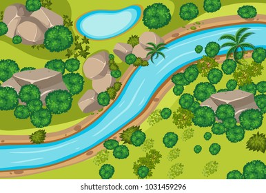 Aerial view of forest and river illustration