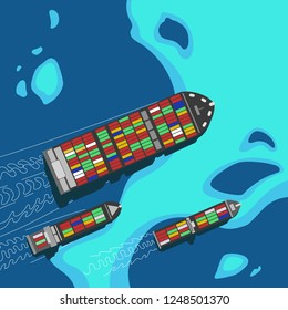 Aerial view of a group of container ships. Illustration of cargo vessel. Import and export business. Logistics and transportation industry.