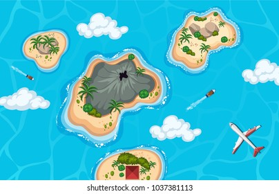 Aerial view of island and plane illustration