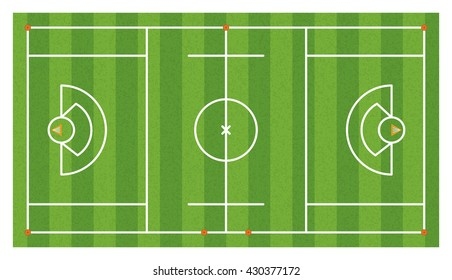 An aerial view of a lacrosse field with lines and goals. Vector EPS 10 available.